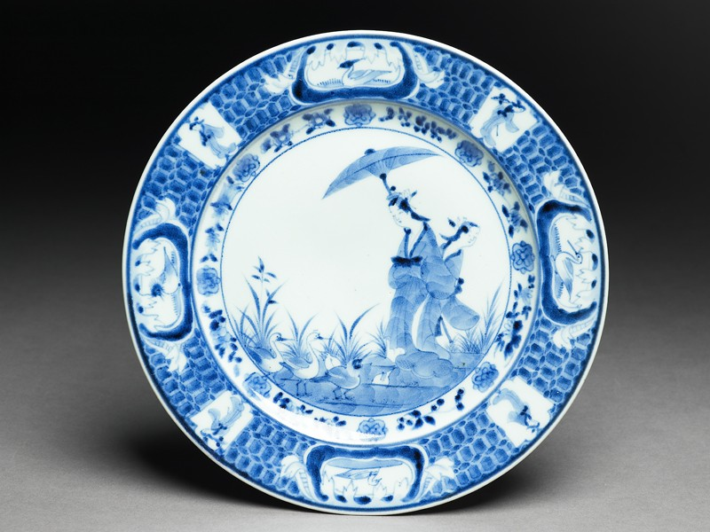 Plate with 'Parasol Lady' design (EA2008.64, top           )