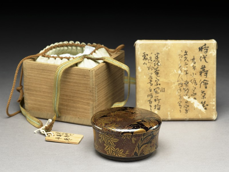 Kōdaiji lacquer tea caddy (EA2008.75, oblique, with tomobako           )