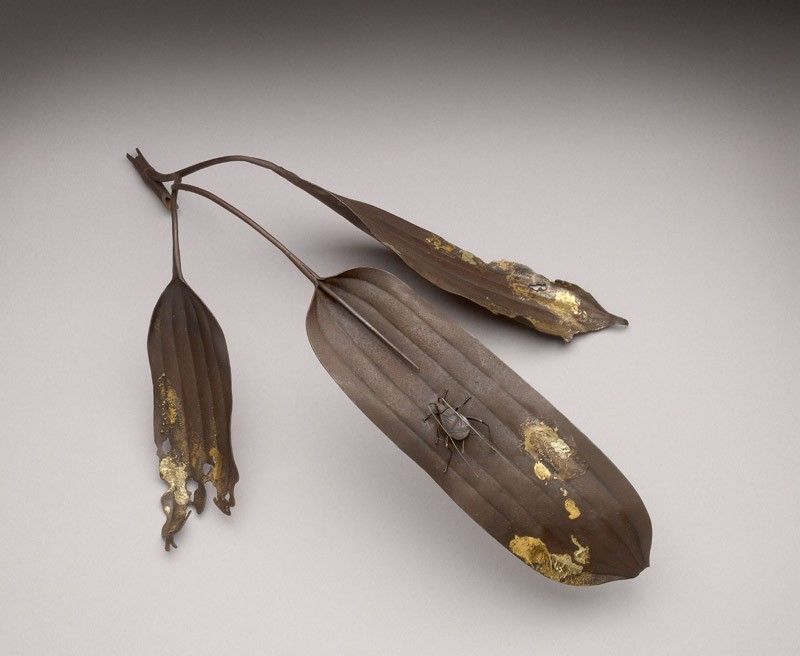 Okimono, or ornament, in the form of bamboo leaves and a cicada