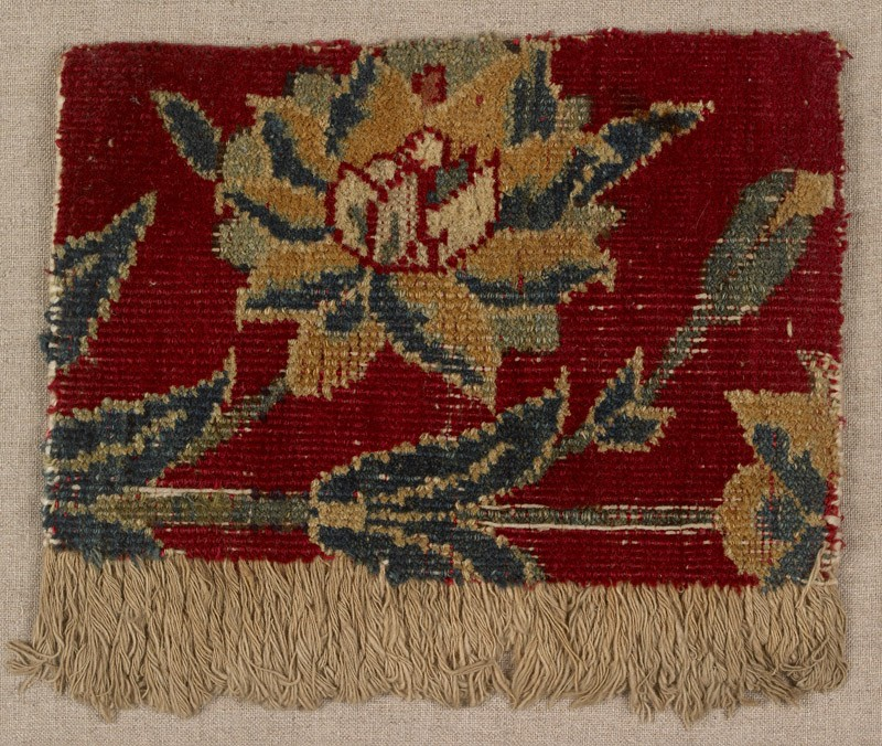 Mughal carpet fragment with floral design (front           )