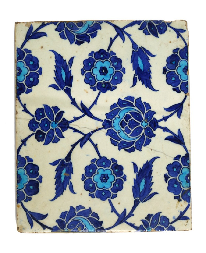 Rectangular tile with peonies and leaves (EA2012.127, front            )