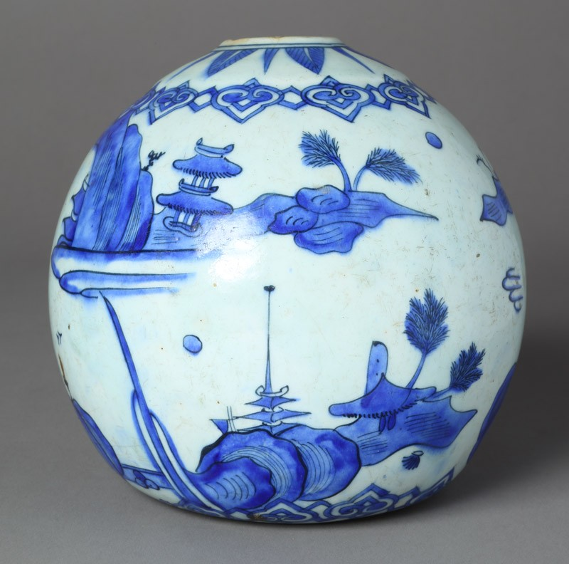 Base of a water pipe with animals in a landscape (front            )