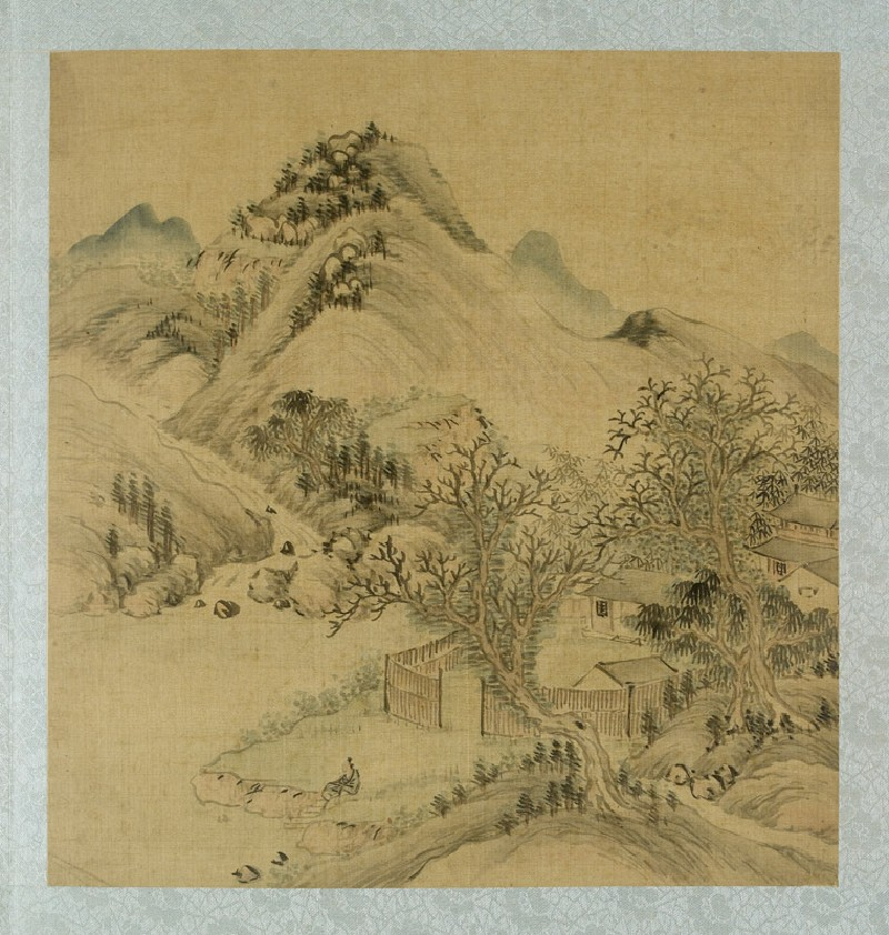 Landscape with houses and a figure sitting by the riverside