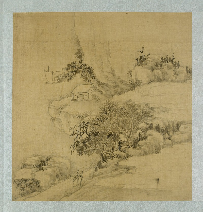 Landscape with a figure holding a walking stick and a boat on the river (EA2012.185.e, front              )