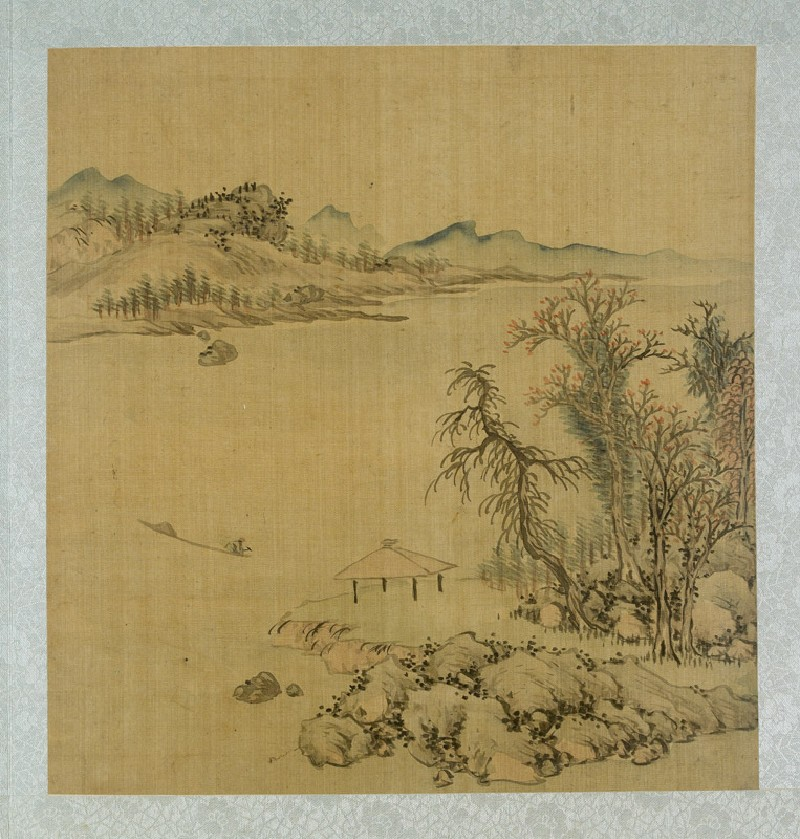 Landscape with a pavilion and a boat on the river (EA2012.185.j, front              )