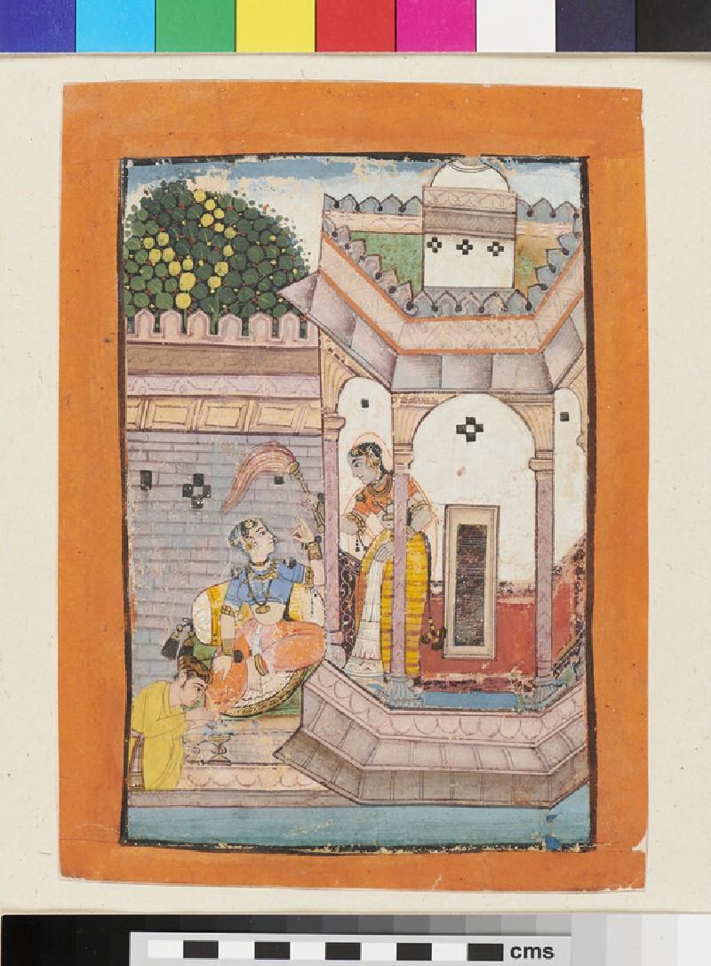 A nobleman shampoos a lady's foot outside a pavilion