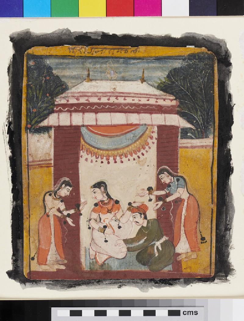 A nobleman massages a lady's leg