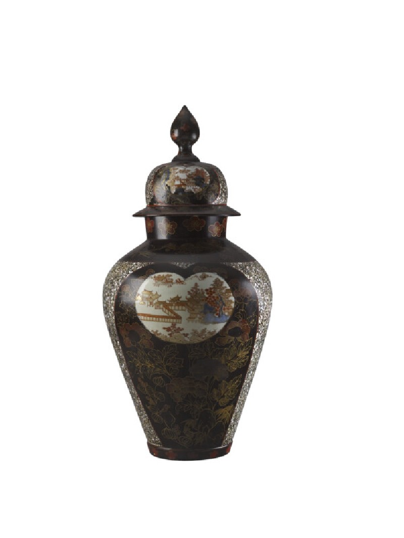 Lidded jar with panels depicting temple buildings among trees