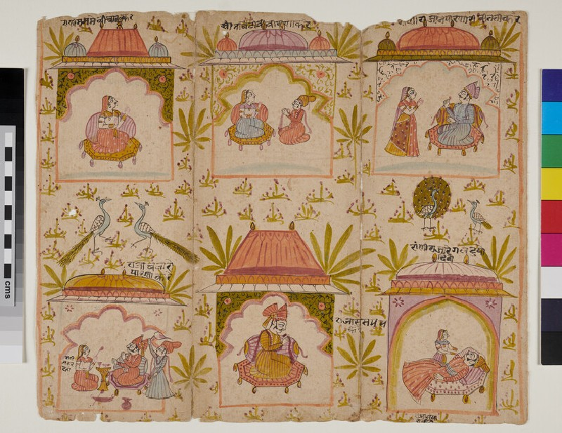 Six scenes from a story of a Raja and a Queen (EA2012.212, recto)