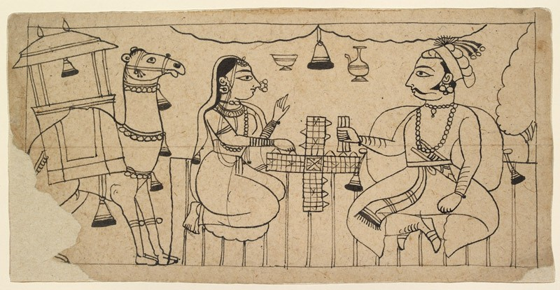 A prince and a lady playing chaupar, a riding camel stands nearby