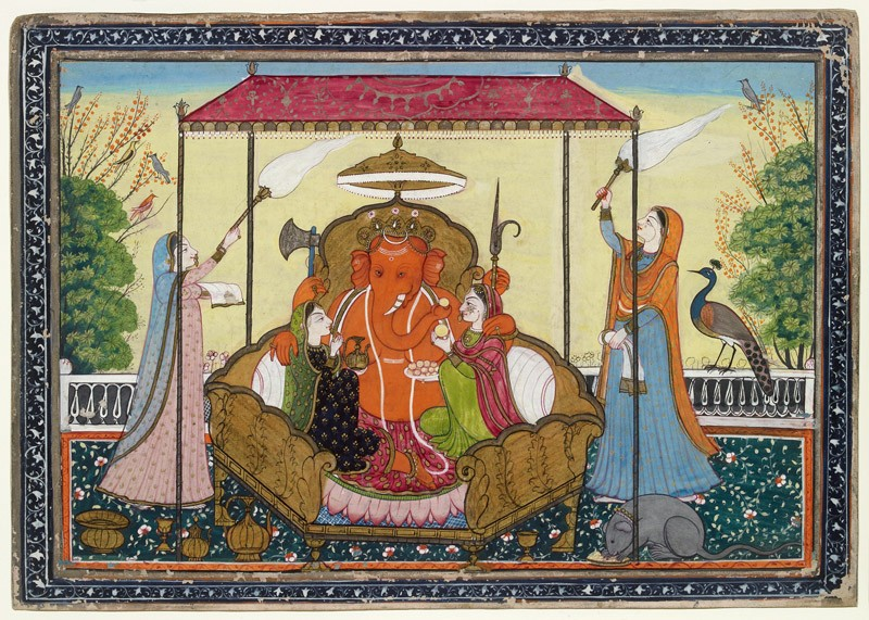 Ganesha enthroned with his consorts