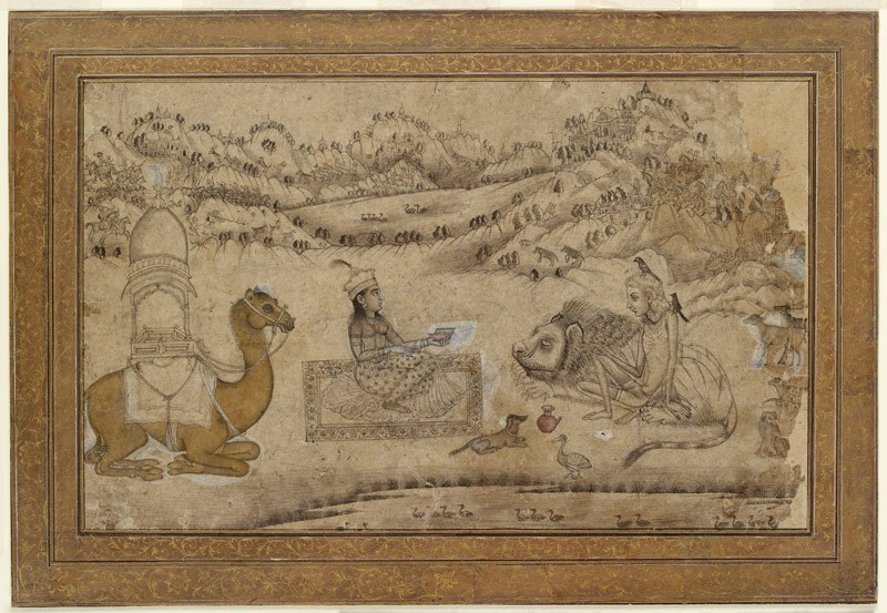 Layla visits Majnun among the animals (EA2012.219, front            )