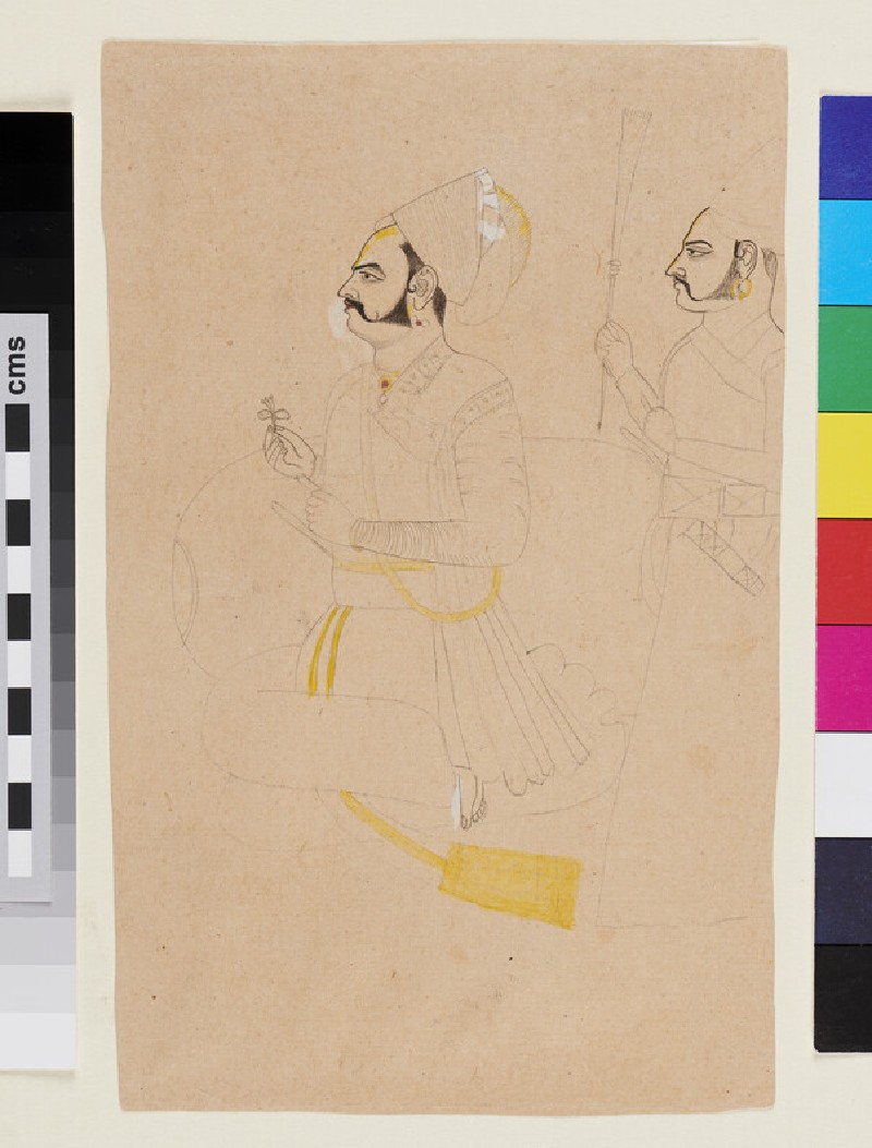 Unfinished drawing of a seated Rathar nobleman, with chowry-bearer (EA2012.221, recto)