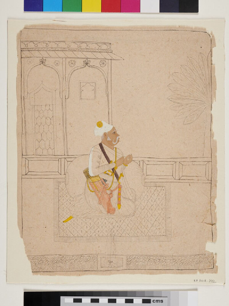 Partly coloured drawing of the Rajput nobleman Raja Vijay Singh on terrace (EA2012.222, recto)