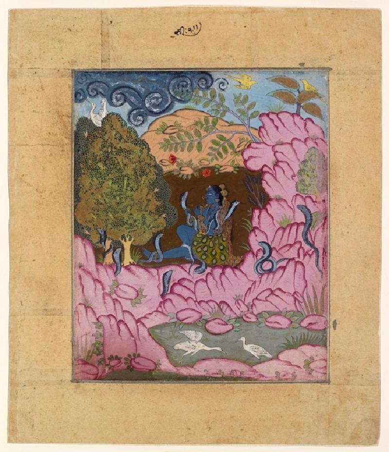 Tribal lady charming snakes, illustrating the musical mode Asavari Ragini (EA2012.229, front            )