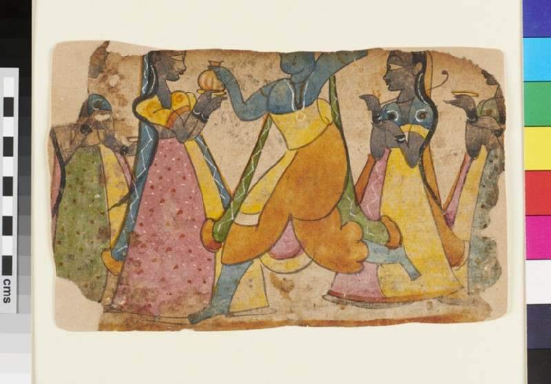 Krishna, possibly, dancing, attended by four maids, or gopis (EA2012.235, recto)