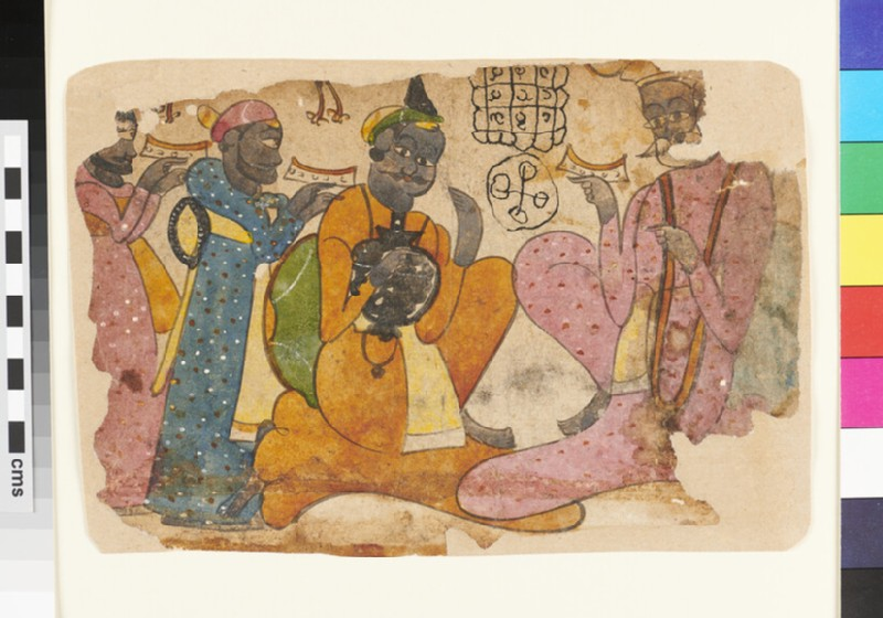 A moustachioed nobleman or merchant sits clutching a pot, while three men offer him gifts
