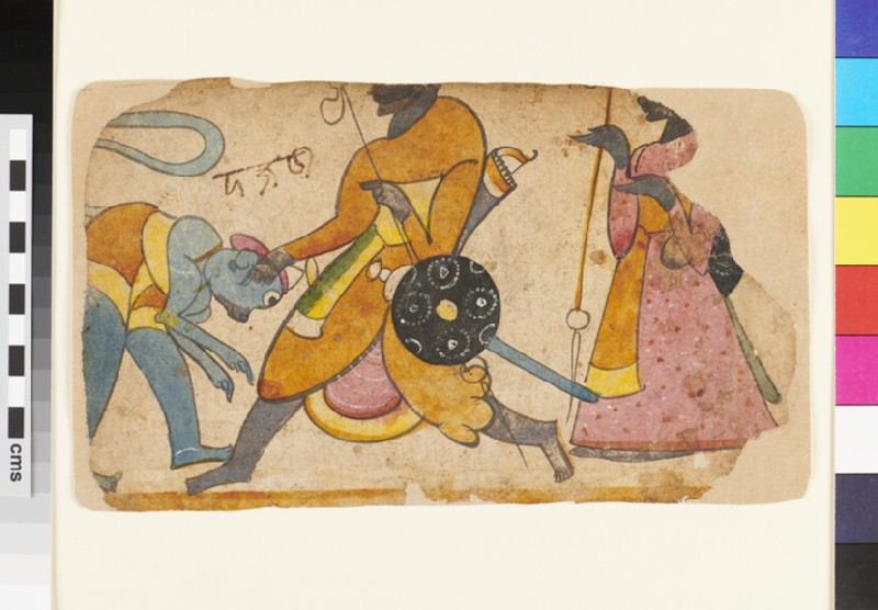 Bowing Hanuman, the monkey god, before two warrior figures, possibly Rama and Lakhsman