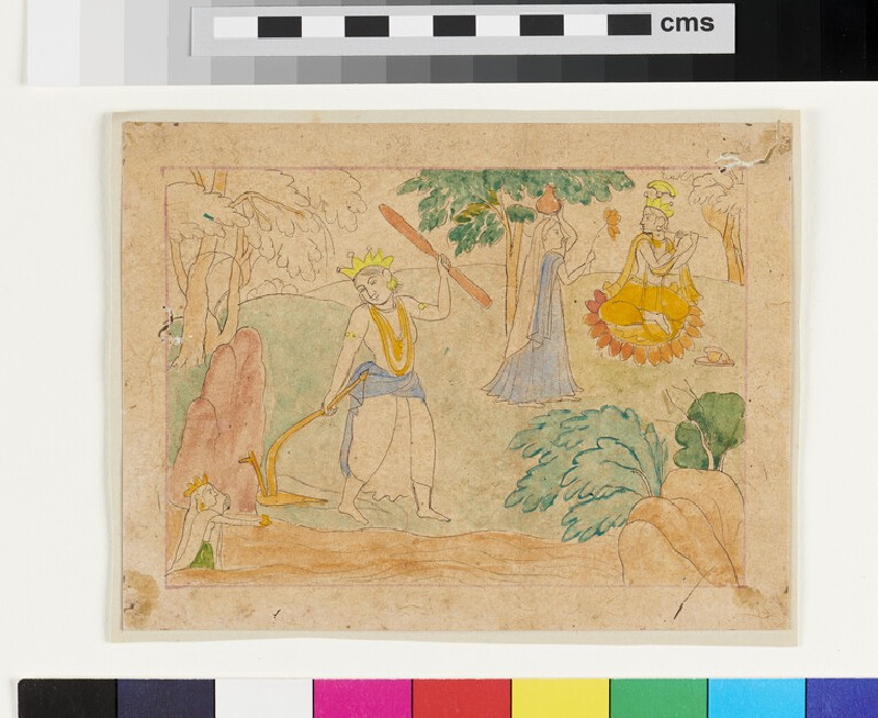 Balarama with plough, Krishna with flute (EA2012.245.f, recto)