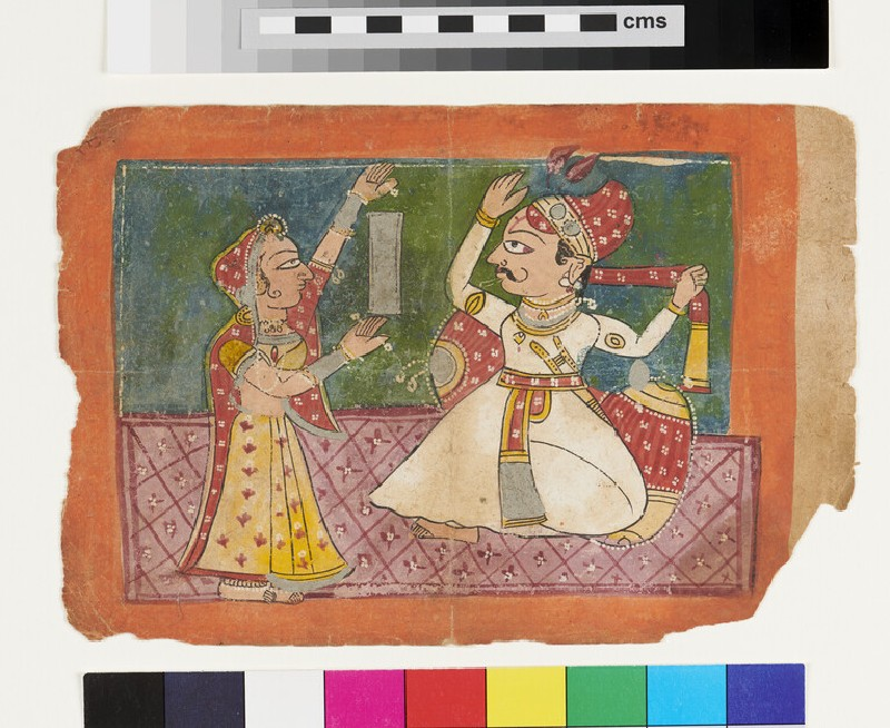 A Raja trying his turban while a maid hold a mirror