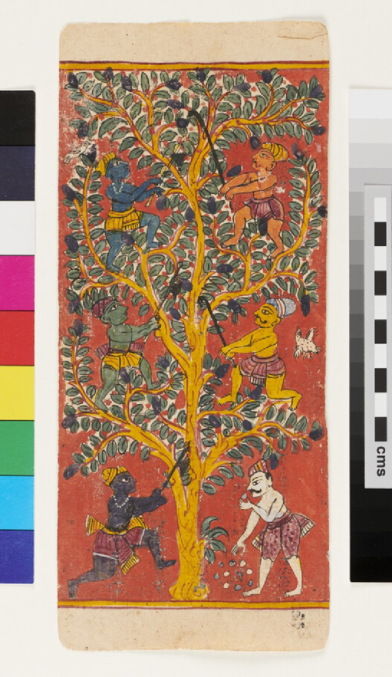 Men in a tree, representing the six taints, or leśyā, of the human soul (EA2012.275, recto)
