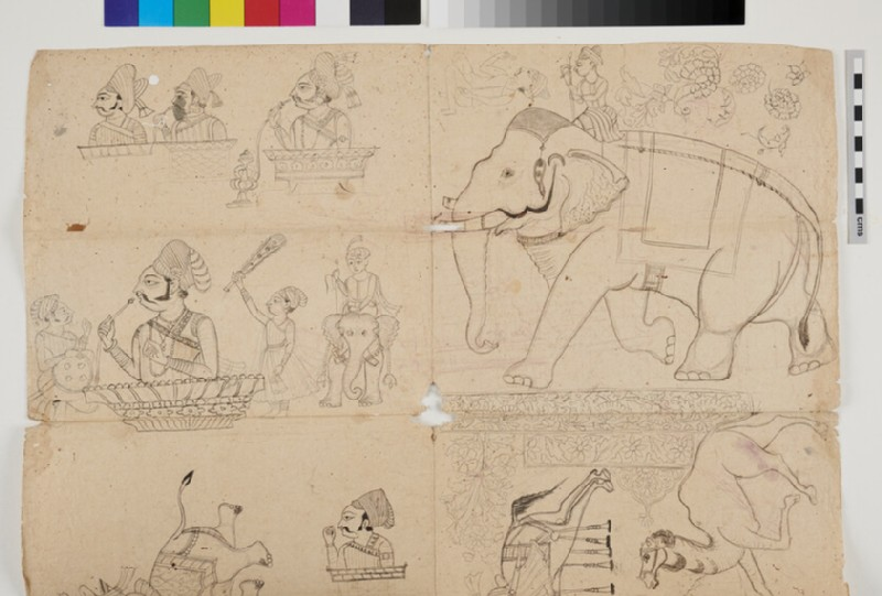Miscellaneous drawings of Rajas, elephants and other animals, and decorative designs (EA2012.287, recto)