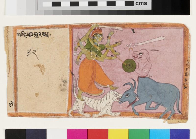 Durga slays the buffalo demon Mahishasuramardini (EA2012.289, recto)