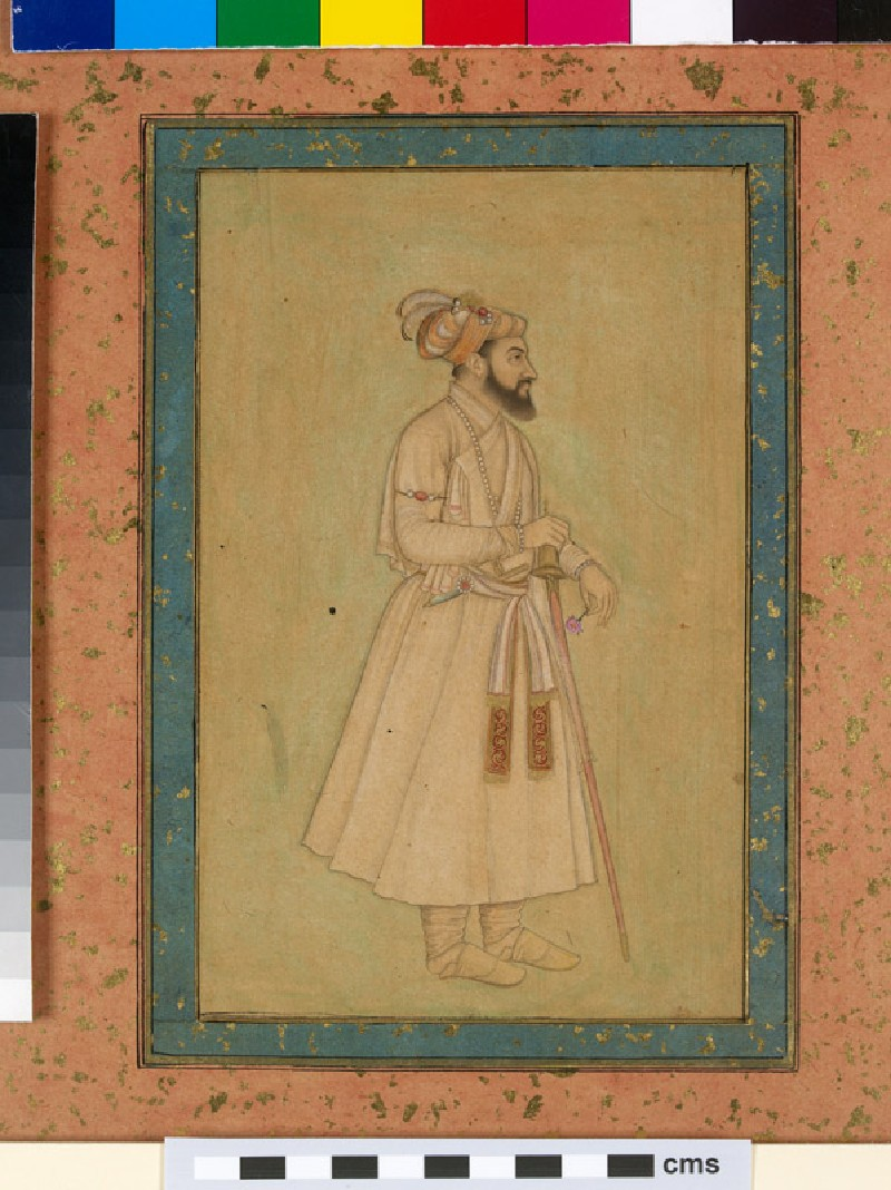 Shah Jahan holding a sword and rose (EA2012.29, front, painting only, front           )