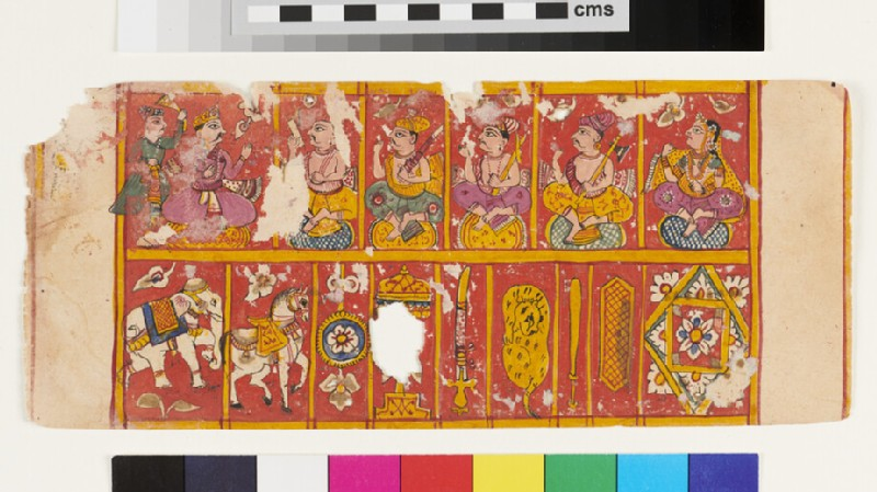 Recto: Treasures of a Chakravartin  <br />Verso: Treasures of a Vāsudeva (EA2012.294.d, recto)