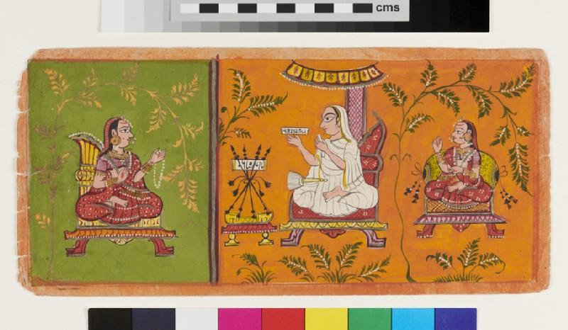 Jain nun holding a manuscript, with female attendant figures