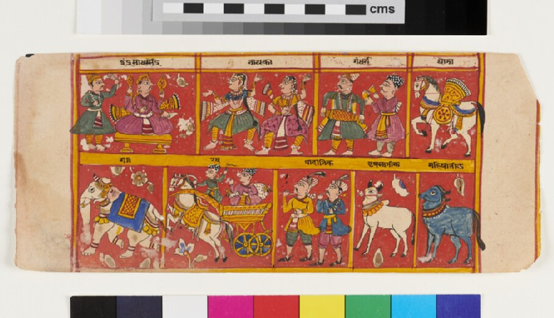 Multiple scenes including a king, god Indra, with dancers, musicians, horse, elephant (EA2012.306, recto)