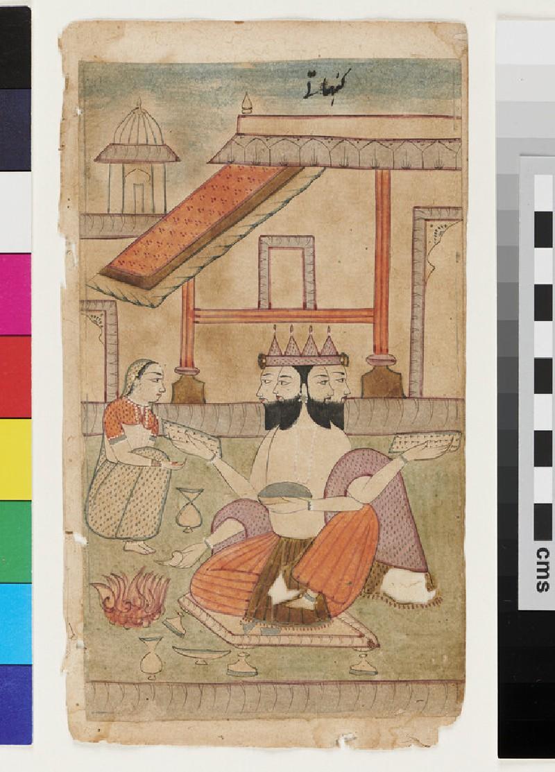 The god Brahma, illustrating the musical mode Khambavati Ragini (EA2012.314.ae, recto)