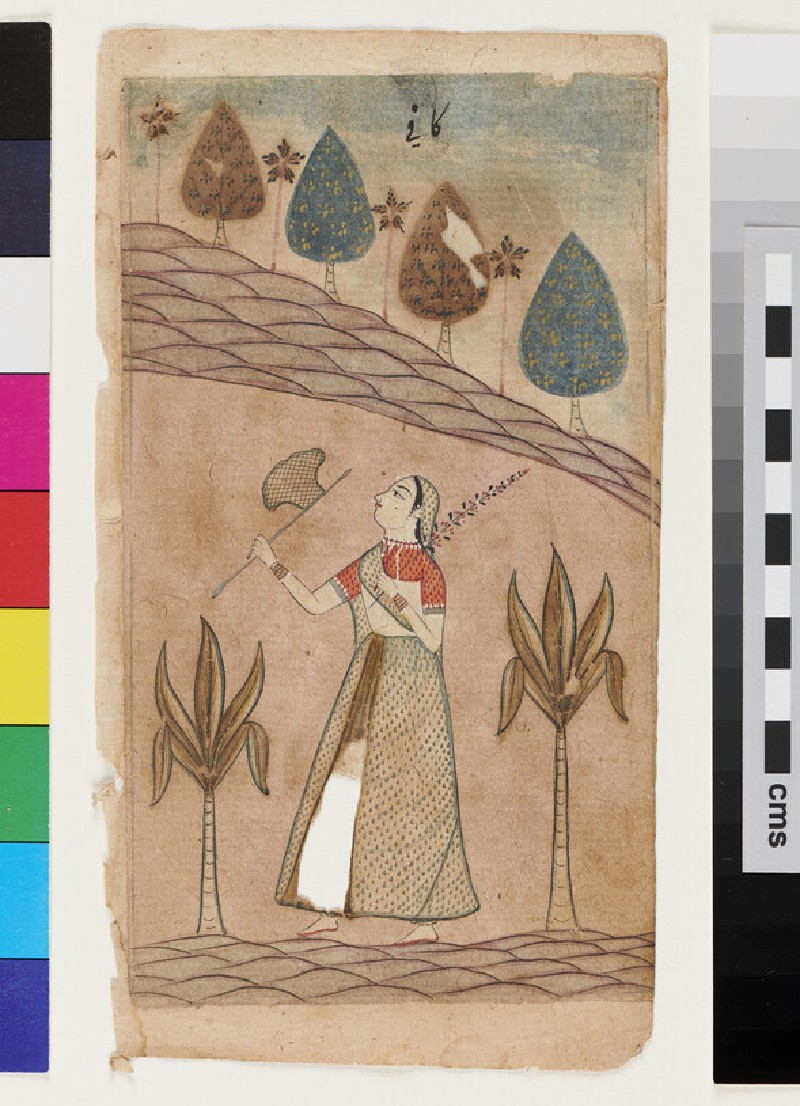 Lady in a landscape with fan and flower wand, illustrating the musical mode Kafi Ragini (EA2012.314.ag, recto)