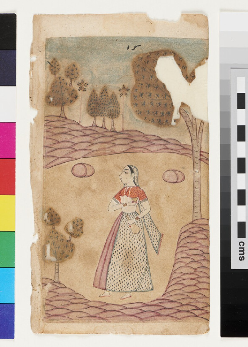 Lady in a landscape, possibly illustrating the musical mode Suha Ragini (EA2012.314.q, recto)