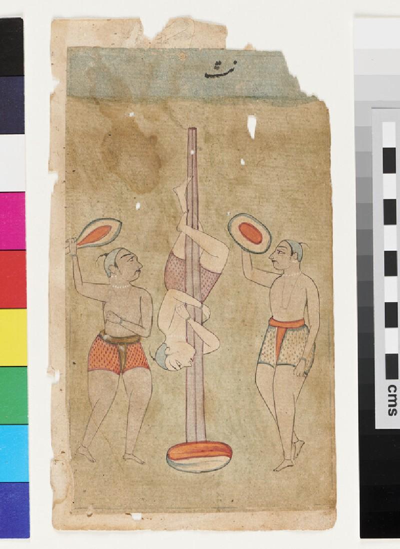 Three athletes or acrobats, illustrating the musical mode Nata Ragini (EA2012.314.s, recto)