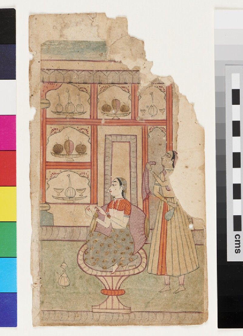 Lady seated on hour-glass stool, scattering petals, while a maid is holding a rumal, or cloth, and a flask