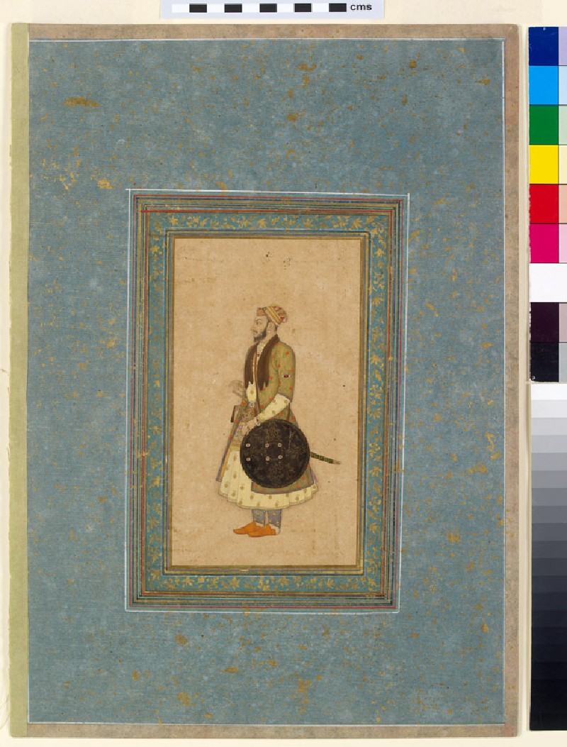 Page from a dispersed muraqqa', or album, with a standing portrait of Prince Kam Bakhsh (EA2012.32, front           )