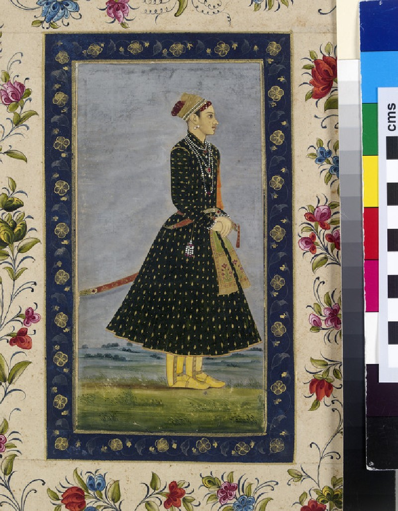 Prince Bedar Bakht in a landscape (front, painting only           )
