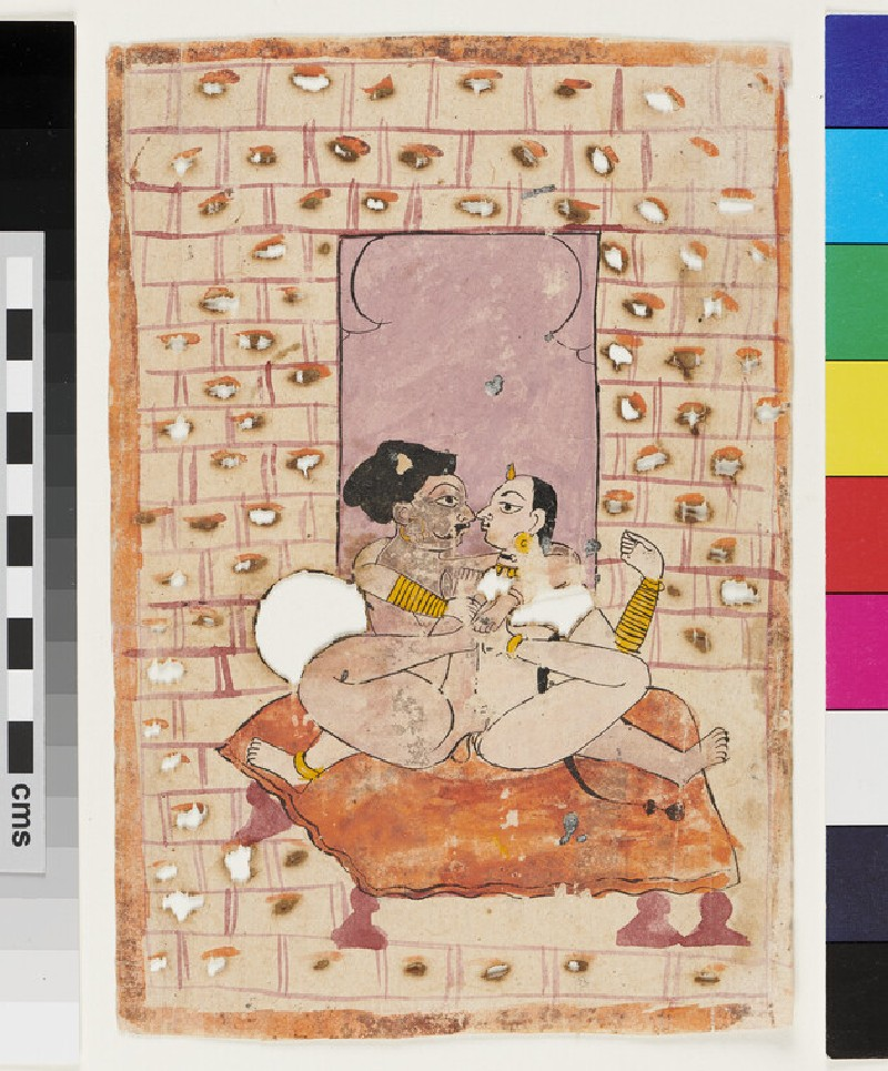 Rajput couple making love on a bed (EA2012.335, recto)