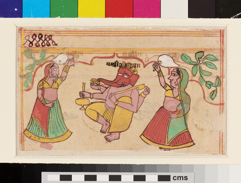 Ganesha dancing, with female attendants