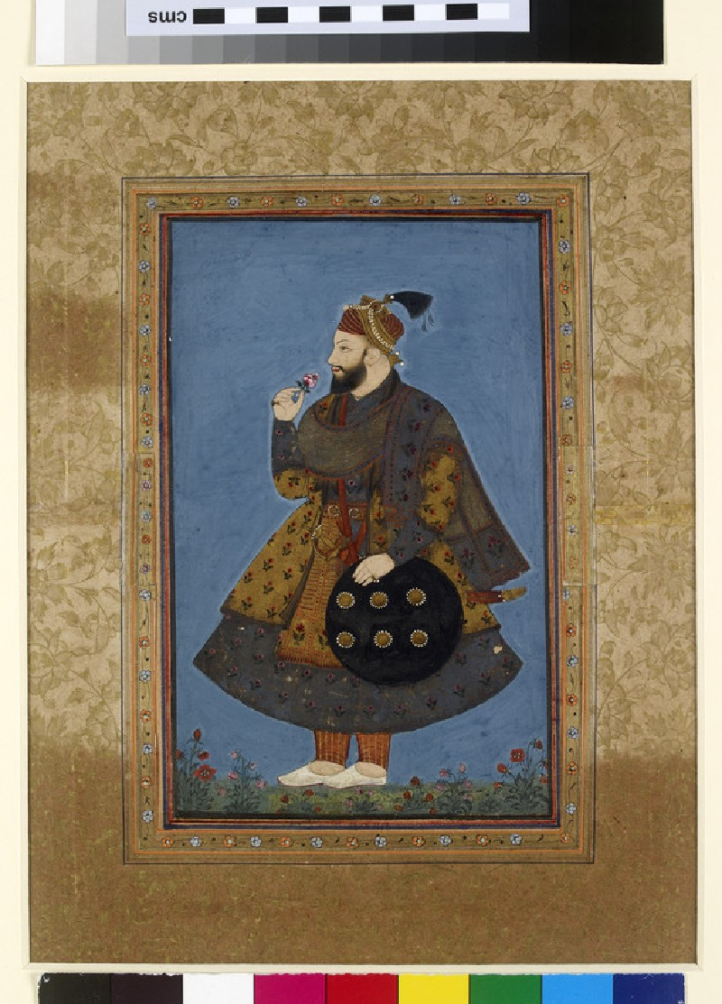 Standing portrait of Sultan Abu'l Hasan of Golconda (front, painting only           )