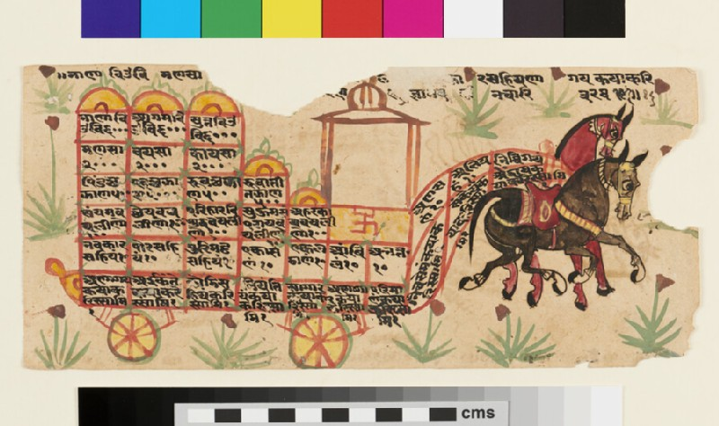 A pair of horses pulling a ratha, or chariot, with inscribed compartments, probably cosmological