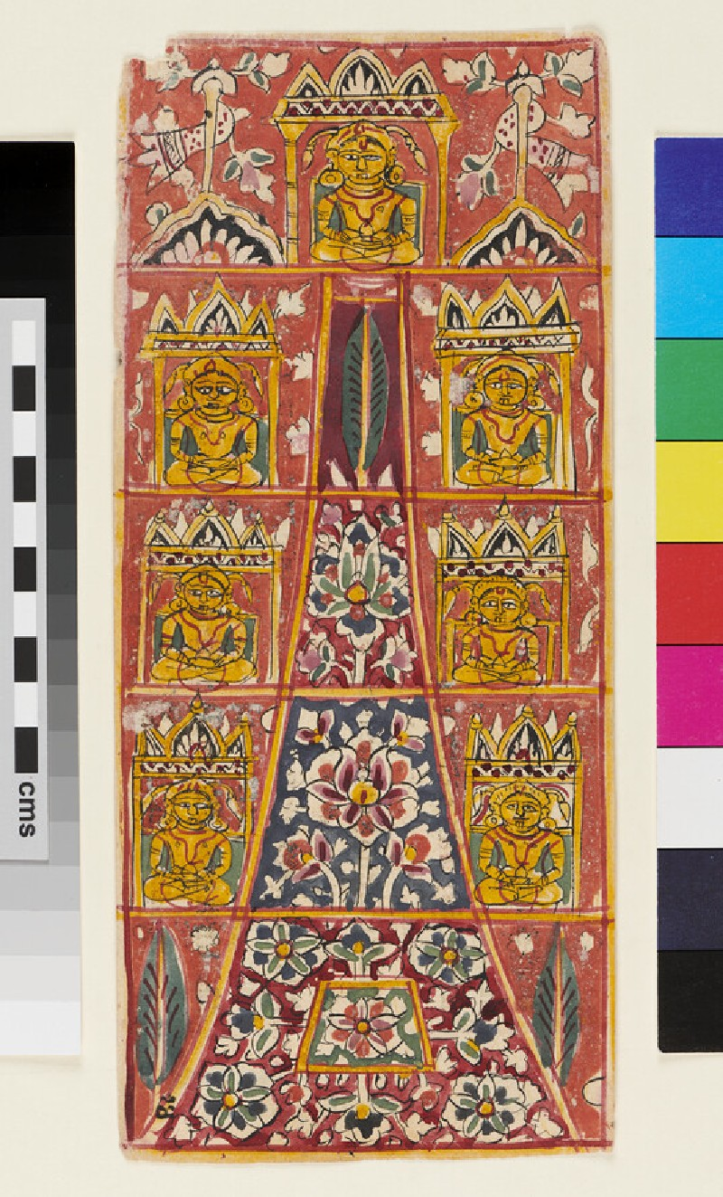 Vertical composition with seven Jina figures around a tall floral pyramid (EA2012.365.f, recto)