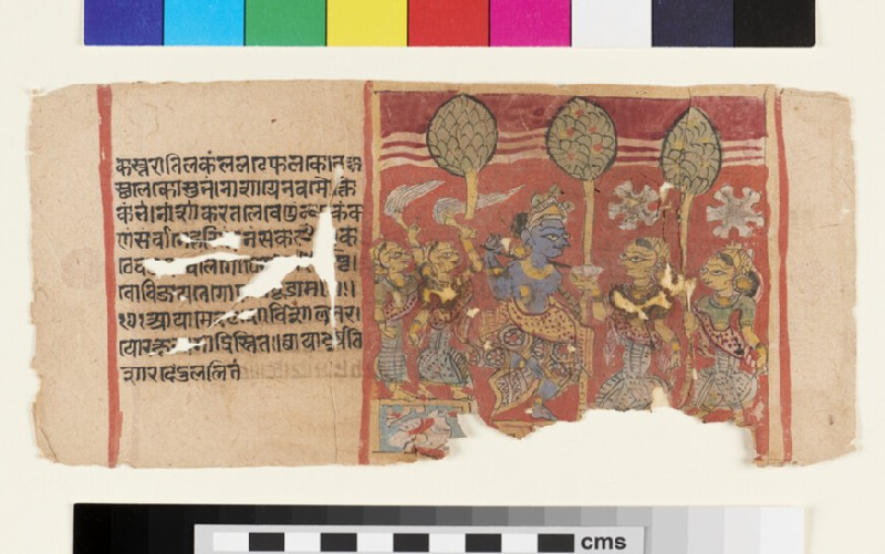 Page from a Balagopalastuti manuscript depicting Krishna and gopis