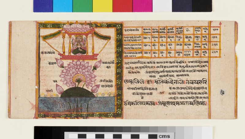 Page from a Jain cosmological manuscript depicting a female deity emanating from a lotus