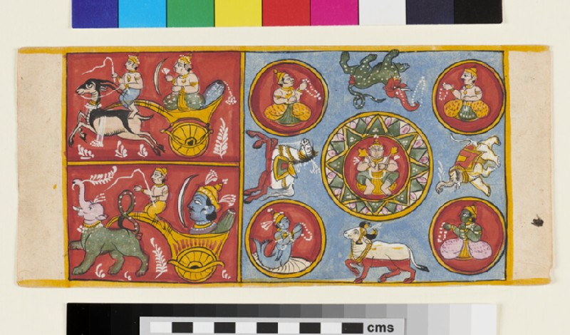 Page from a Jain manuscript depicting various deities, animals, a Jina within a Lotus (EA2012.390, recto)