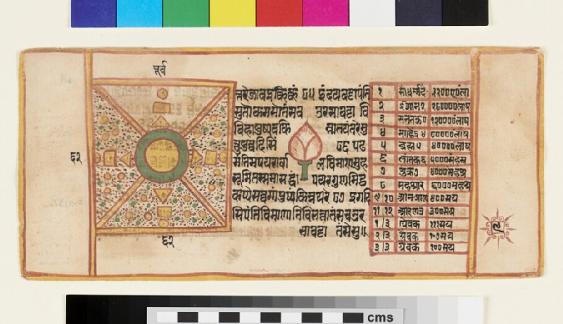 Page from a Sangrahani Sutra manuscript, depicting geometric designs (EA2012.395.i, recto)