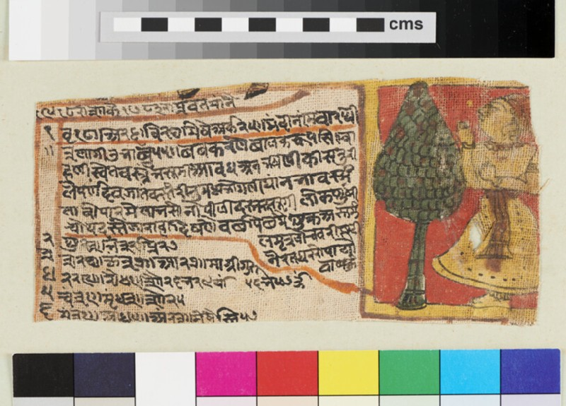 Page from an unidentified Hindi romance, written and painted on cloth (EA2012.399, recto)