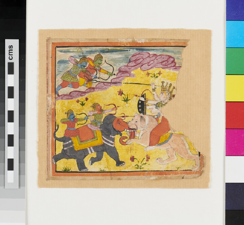 Painting of a Durga on lion attacking demonic warriors, two of them on an elephant