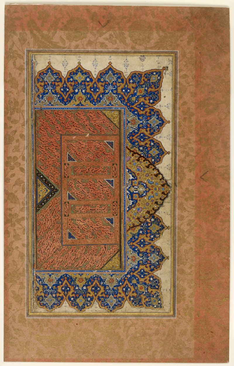 Page from a dispersed muraqqa', or album, with decorative borders and calligraphy in nasta'liq script (EA2012.52, front           )
